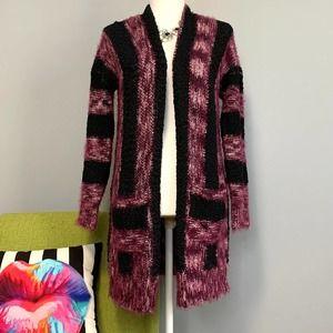 Chelsea & Theodore Striped Fuzzy Cardigan Sweater